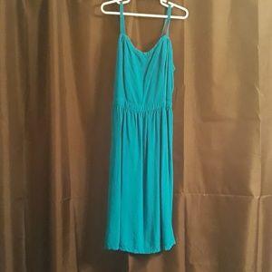 Bright blue,  knee length dress (I am 5'2)